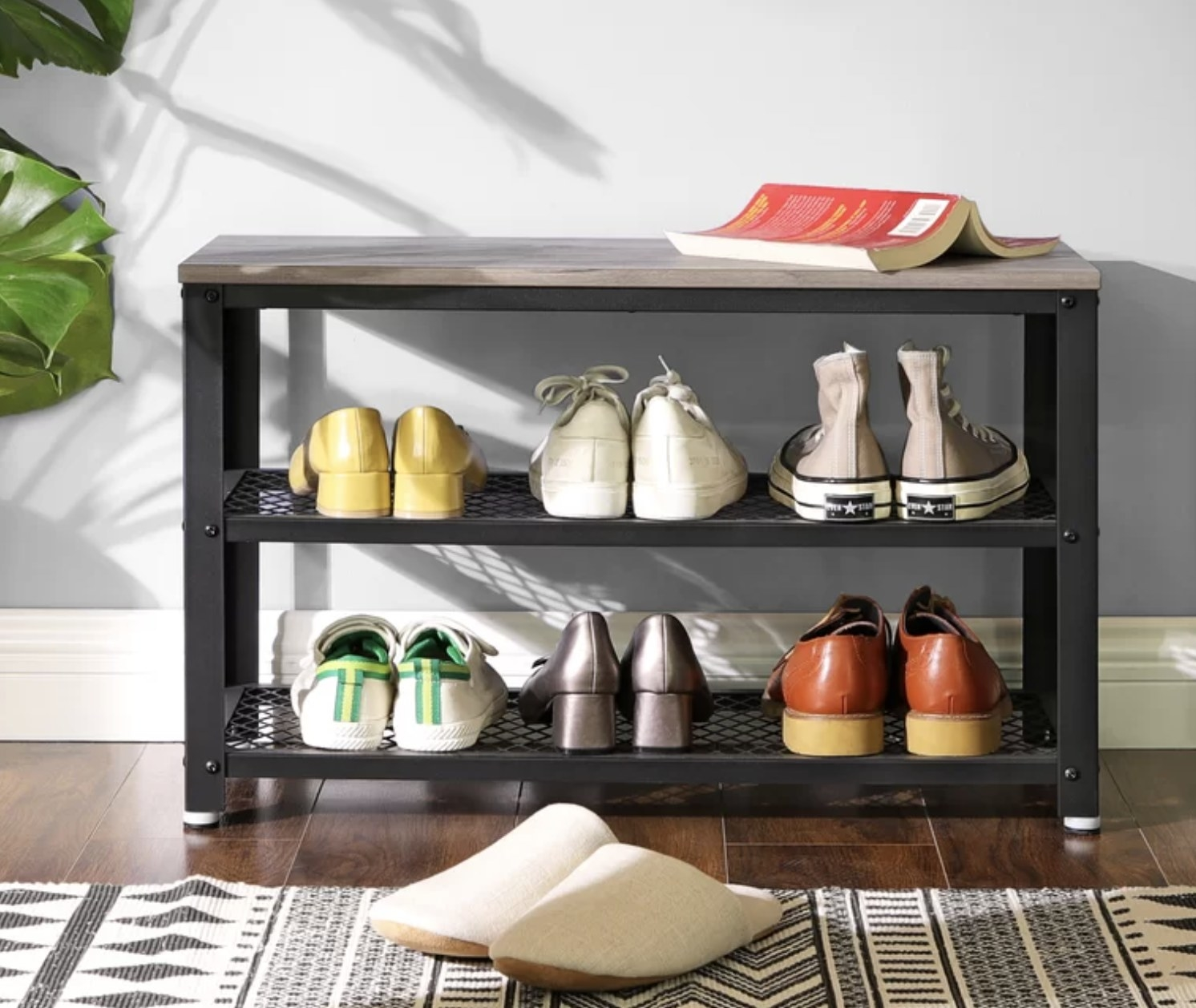 The storage bench with shoes in the shelves
