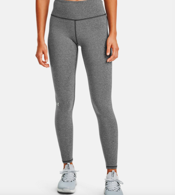 model wearing UA cold gear leggings in charcoal light heather