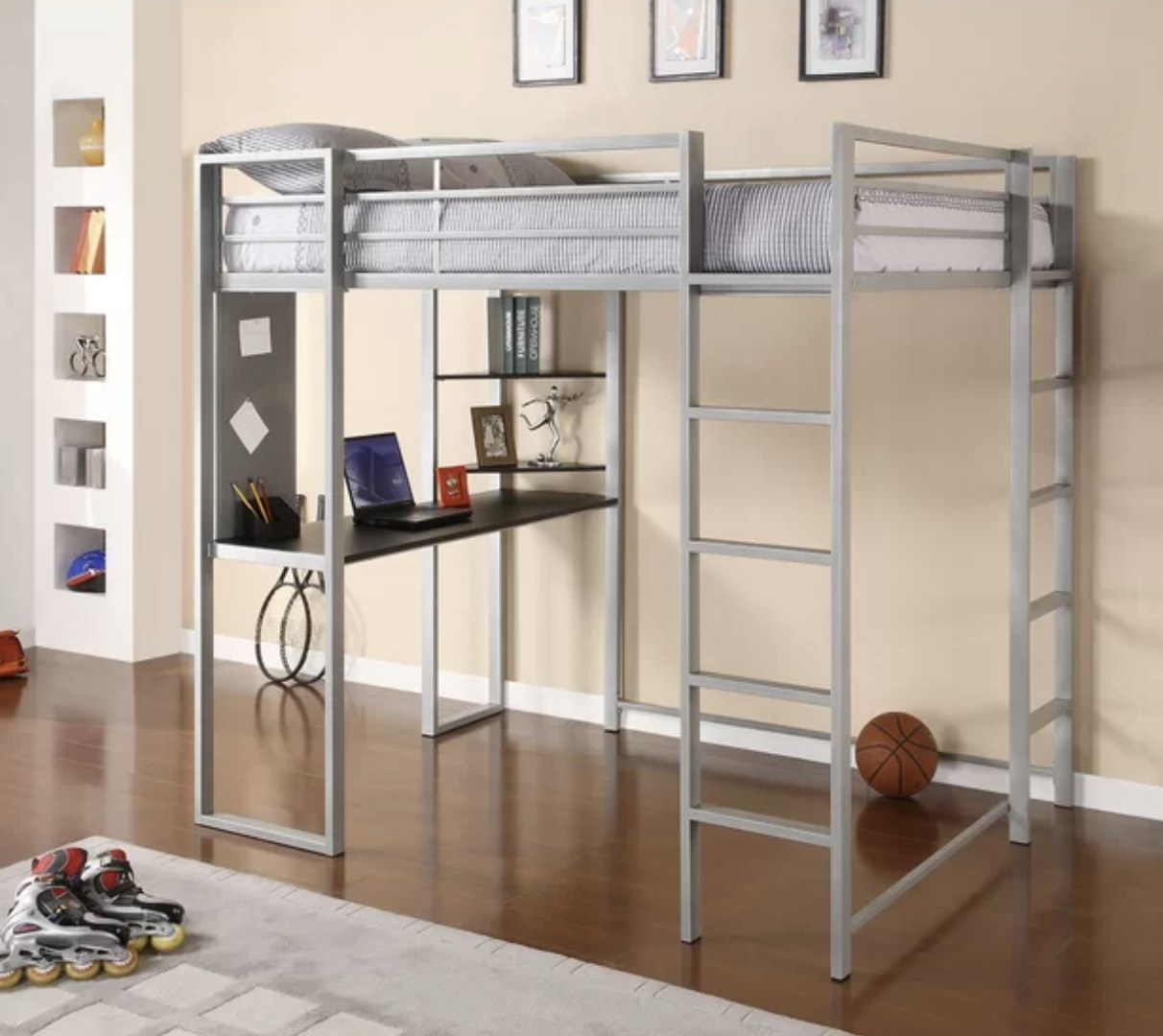 A metal loft bed with bookcase