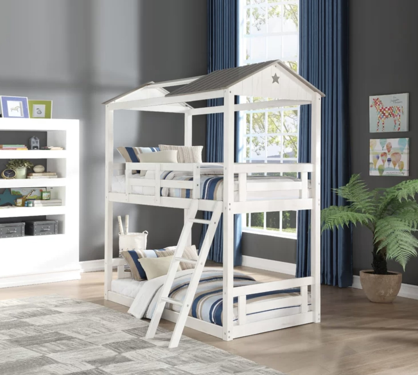 A white twin bunk bed