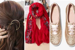 A split screen with a half moon clip in a persons hair an embroidered scarf and a pair of sparkly Keds