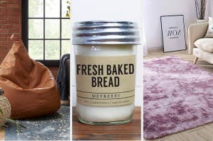 A split screen with a pouf, a candle that smells like fresh baked bread and a fluffy rug