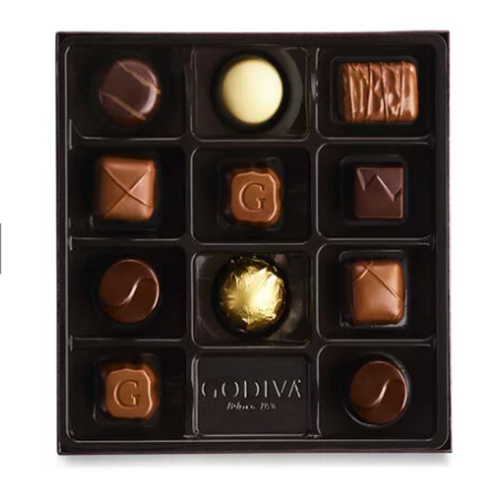 box of 11 chocolates in various shapes