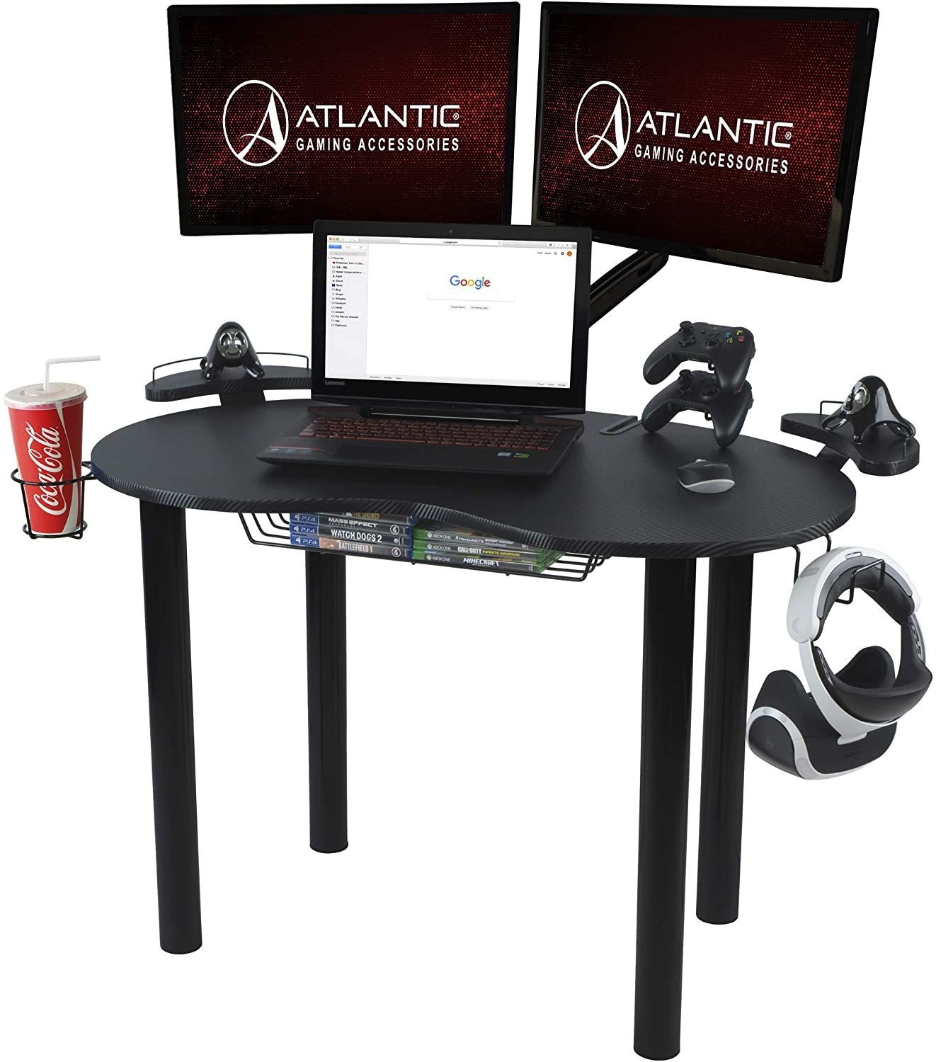 black gaming desk with accessories hanging from it