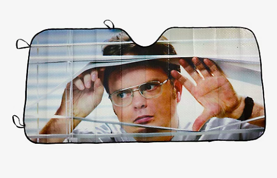 windshield cover that shows dwight peeking out of conference room blinds