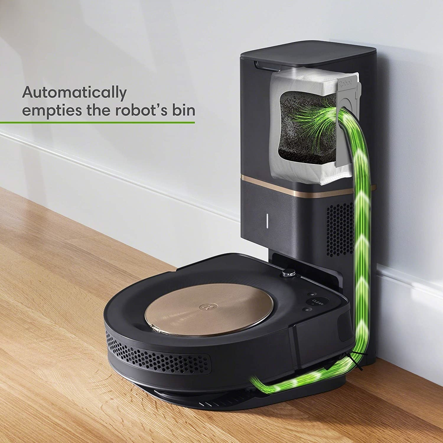 The Roomba sitting in its charging portal