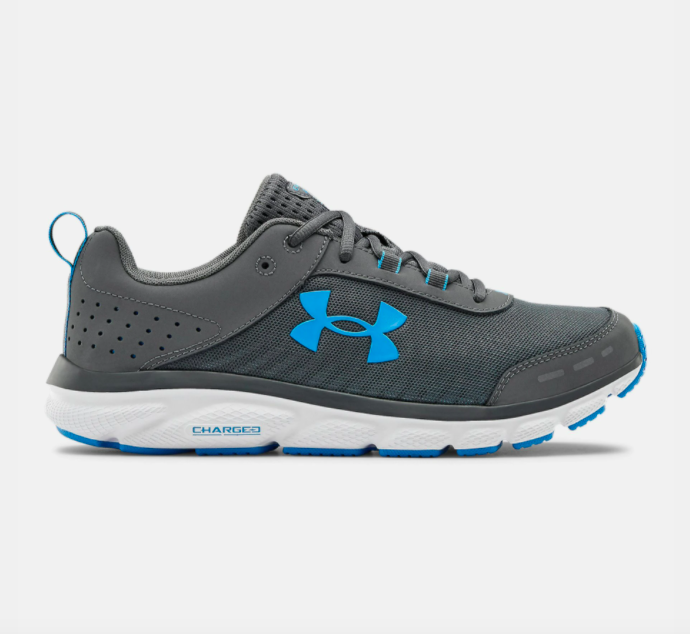 UA charged assert running shoes in gray / white / blue
