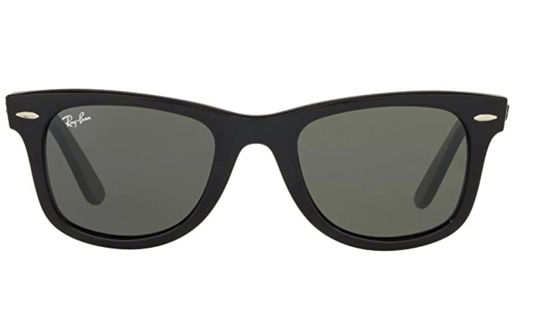 A pair of black standard Ray-Bans