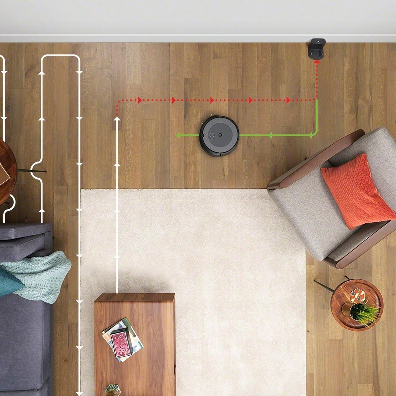 The Roomba navigating its way around furniture