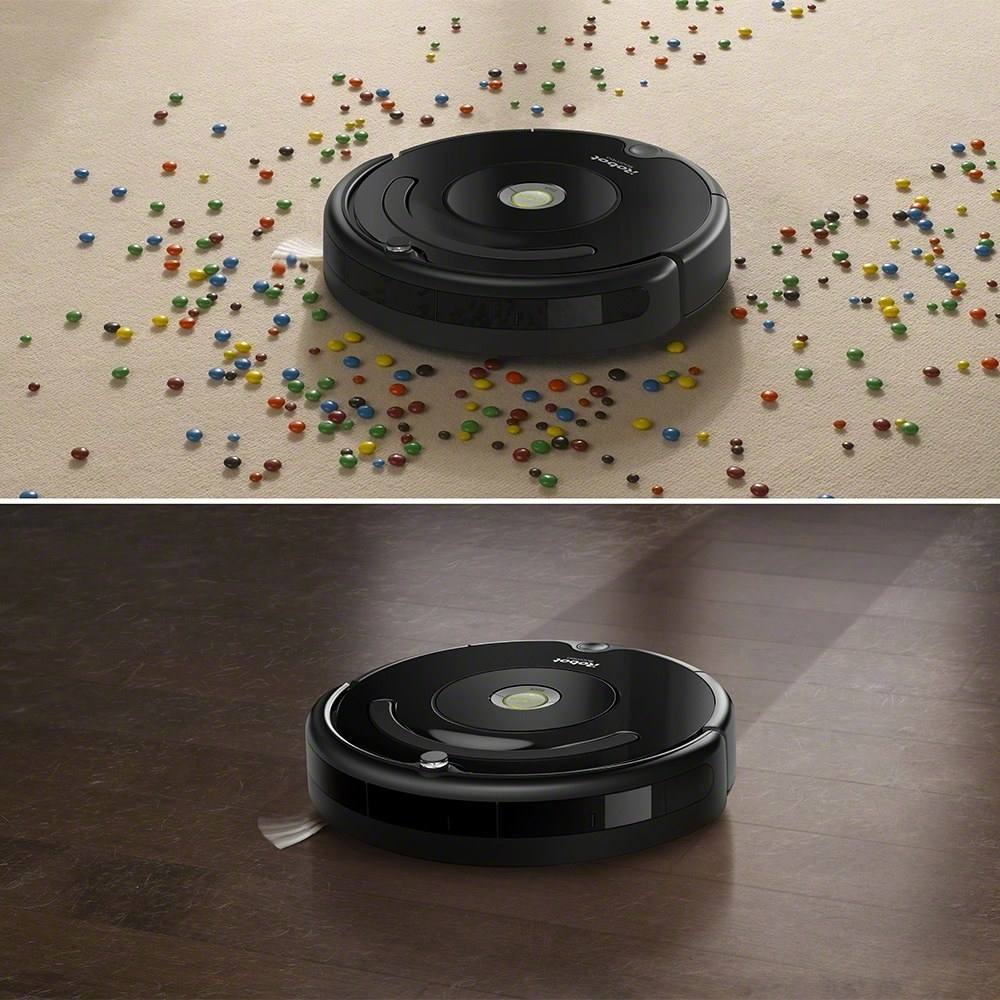 The vacuum on hardwood and carpet