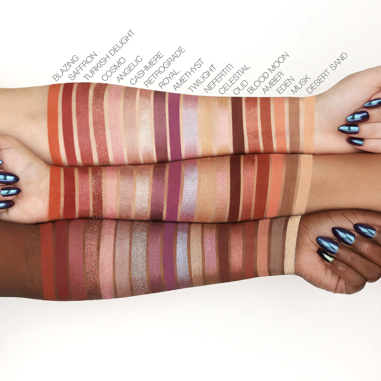 Models with light, tan, and deep skin tones showing swatches of reds, pinks, and browns