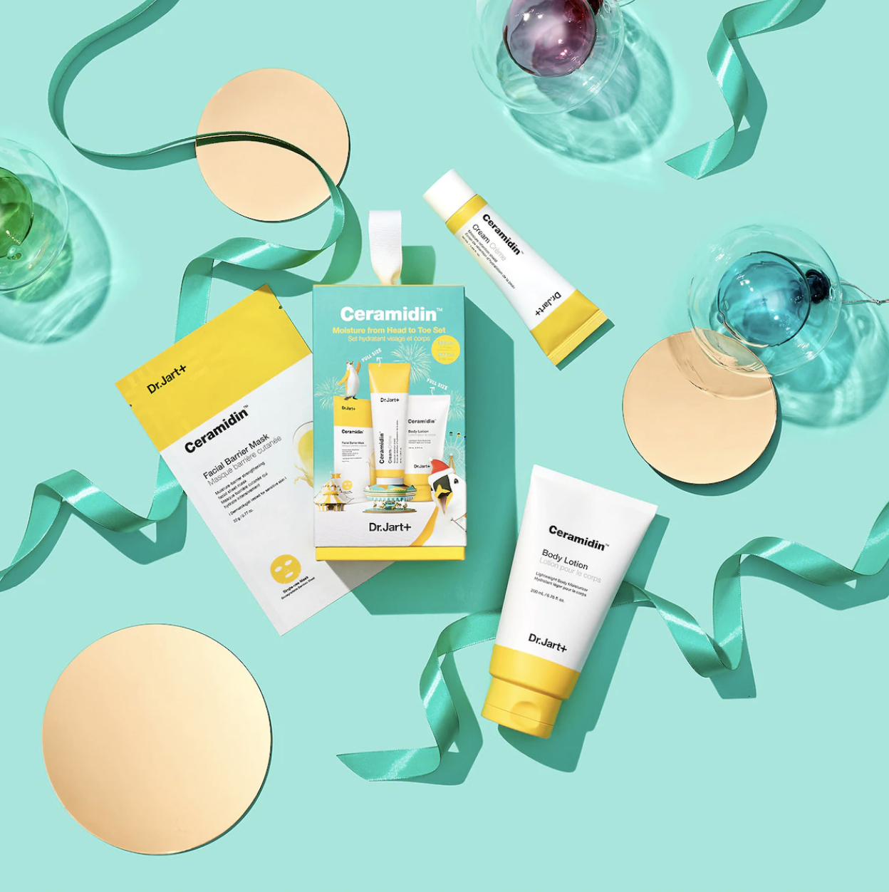 The set with tubes of product and a package with a face mask