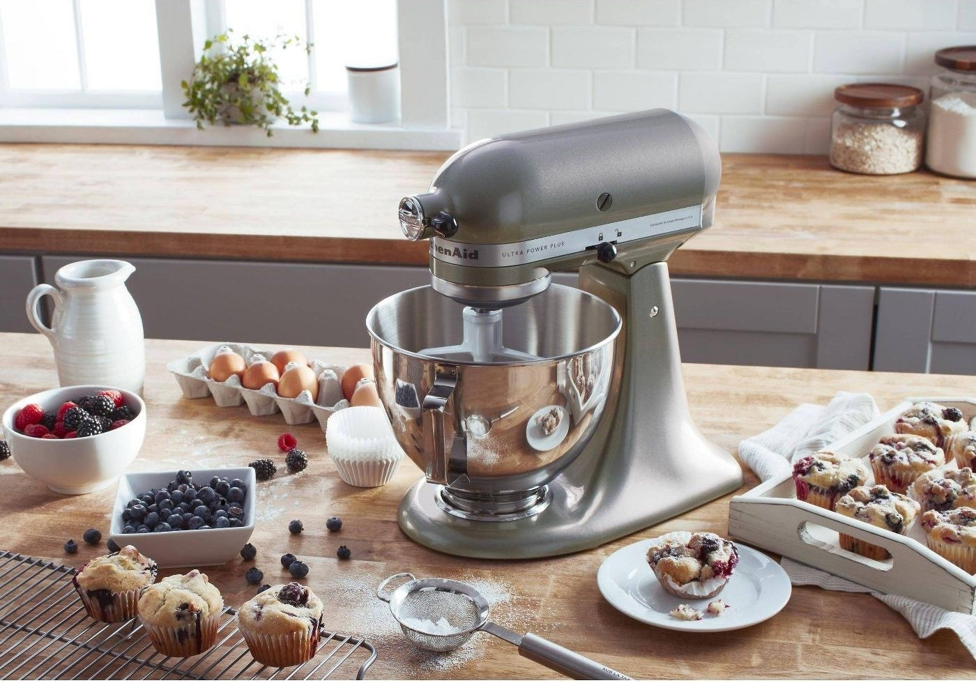 The silver stand mixer