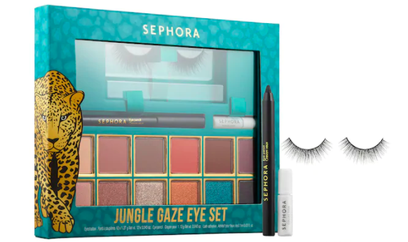 An eyeshadow palette with eyeliner and false eyelashes
