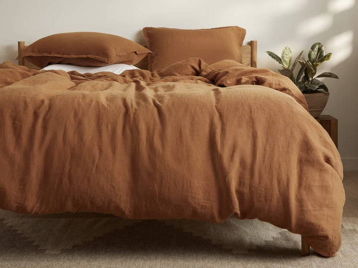 The linen bedding set in beige