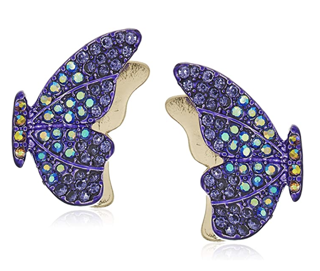 Purple earrings shaped like butterfly wings