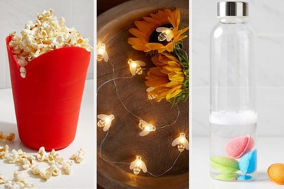 popcorn, bee lights, scrubbies