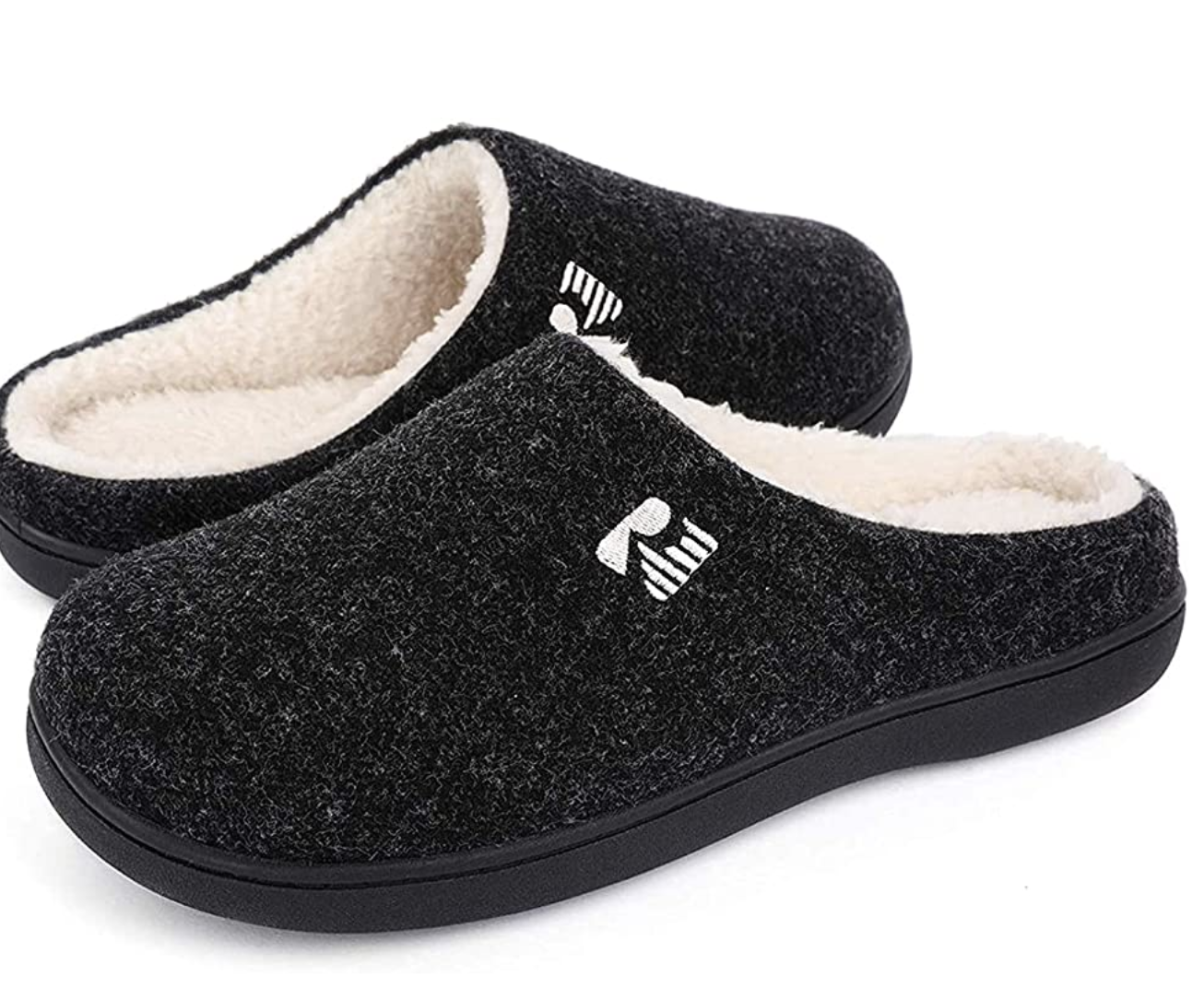 Gray slip-on slippers with white interior lining