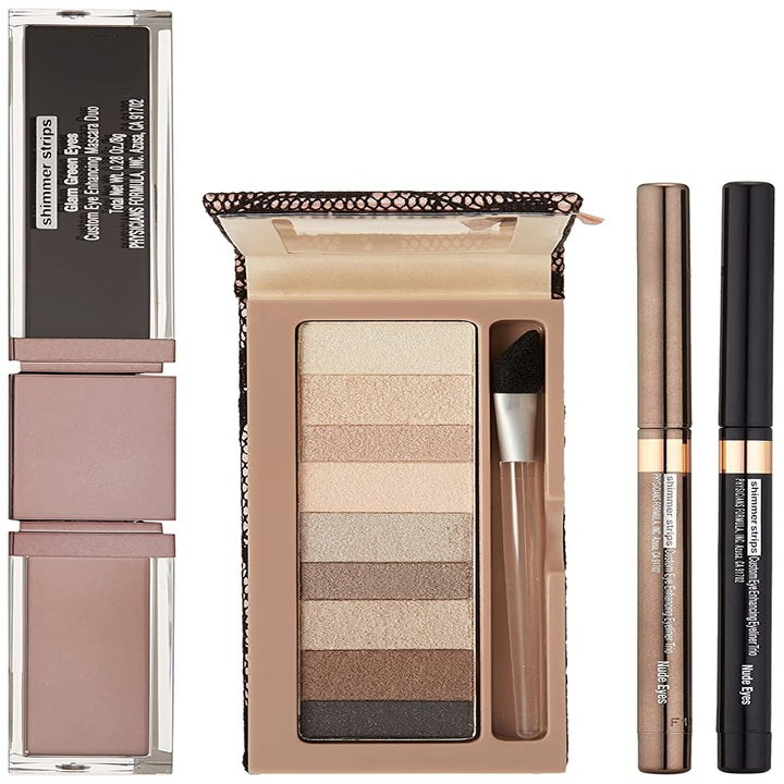 A kit that includes a nine-shadow eye palette, two eyeliners, and two mascaras