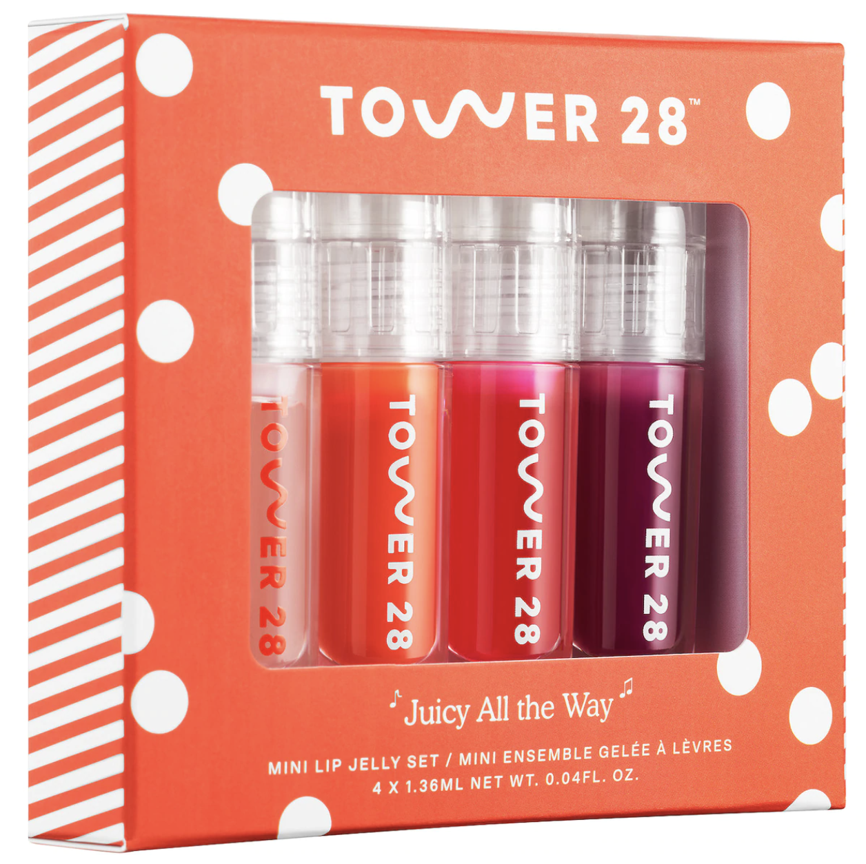 The lip jellies in shades of deep pinks, light red, and clear