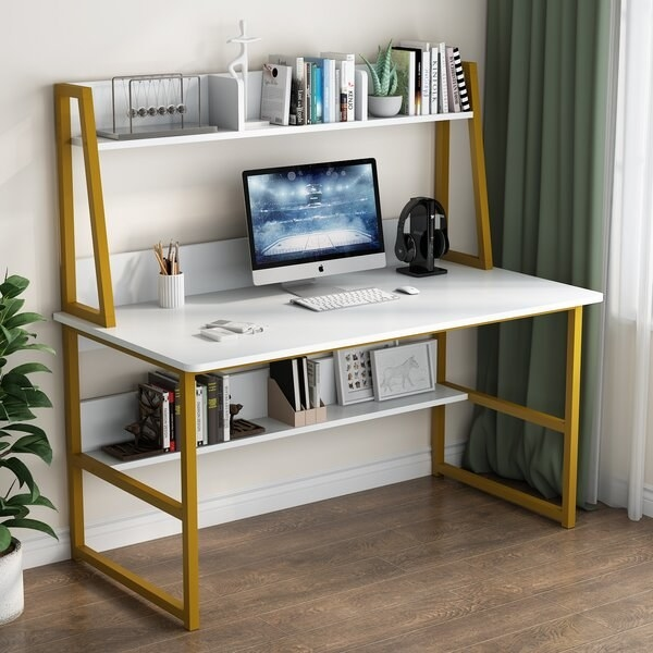 white wide desk with a shelf under the desk and a hutch