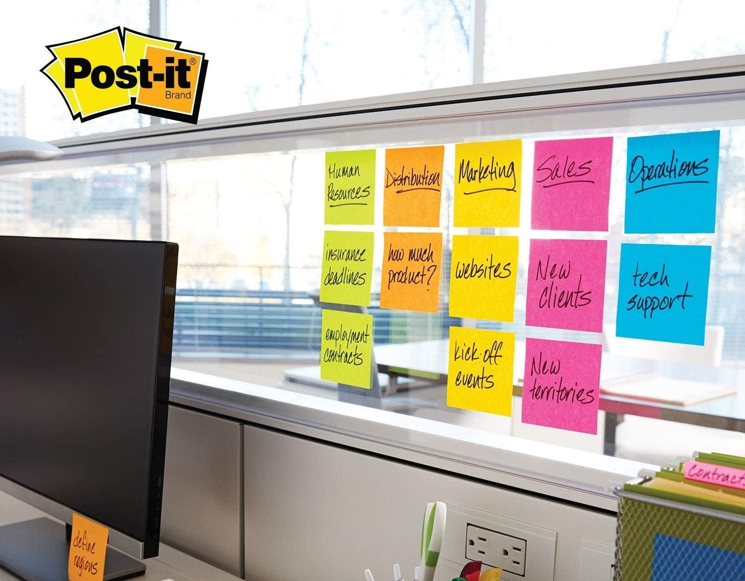 office station with Post-It notes