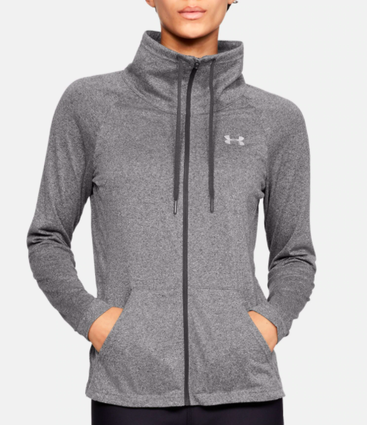 model wearing UA tech full zip in charcoal light heather