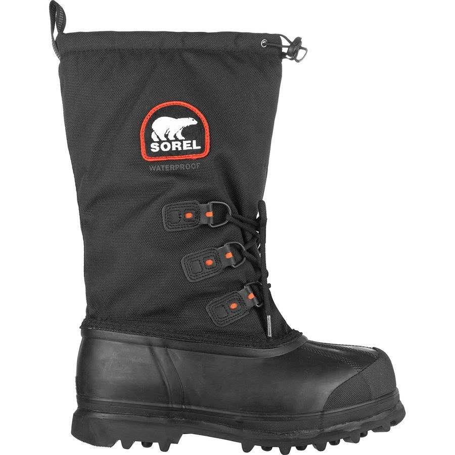black rubber-bottom boots with a tall fabric leg that can be cinched at the top