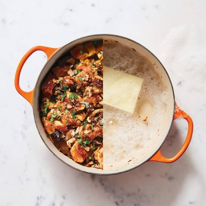 The Dutch oven cooking both sweet and savory dishes