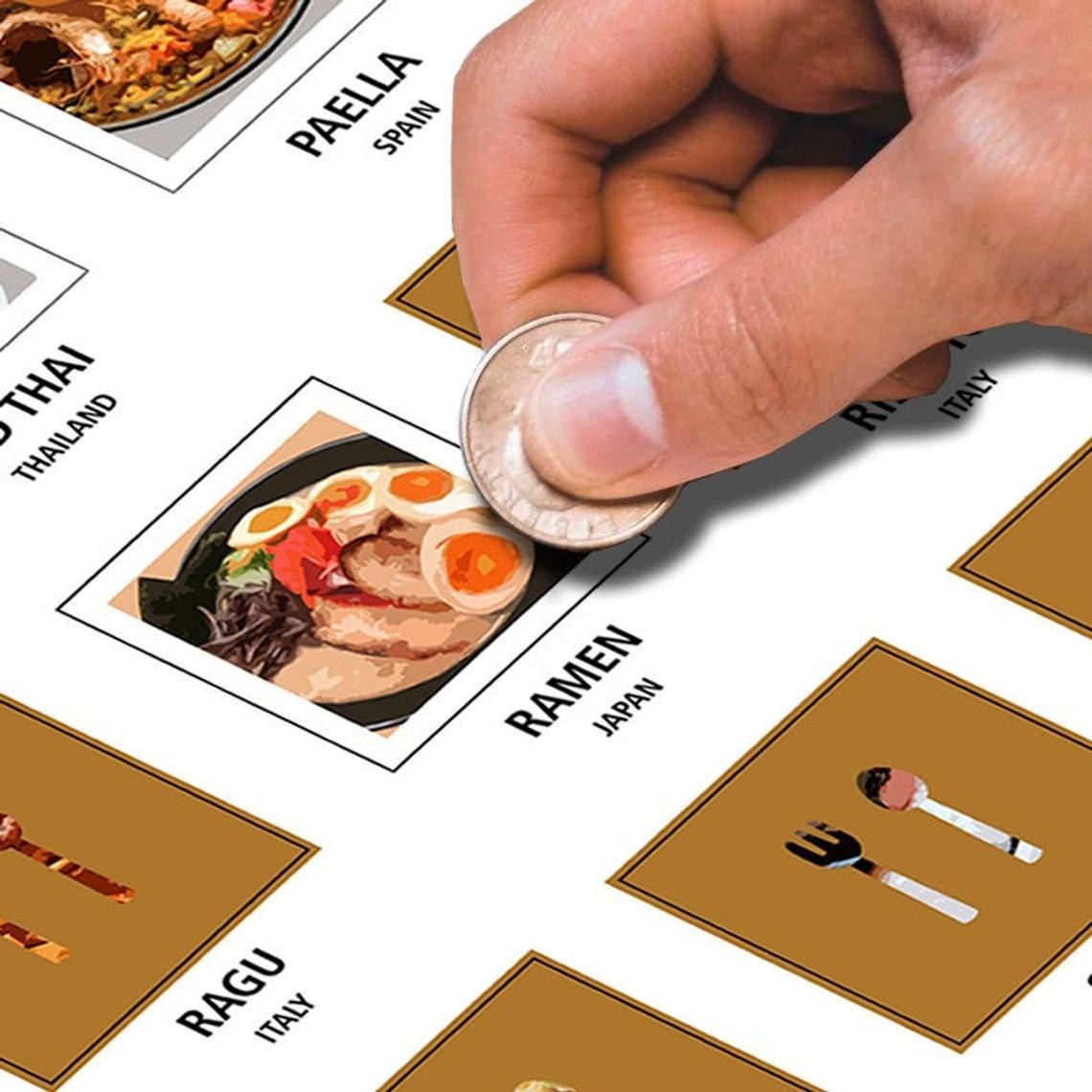 scratch off poster with someone scratching off the ramen square