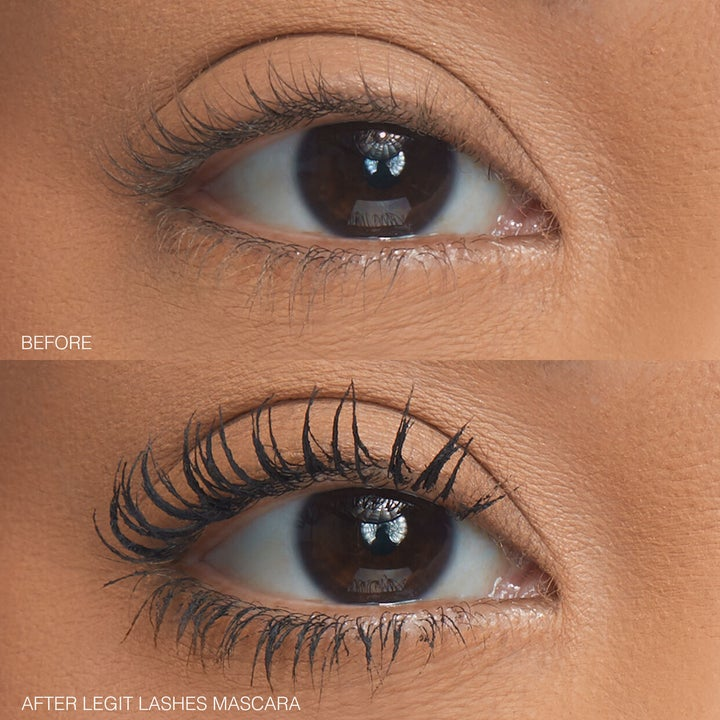 Before and after showing the mascara added length and volume