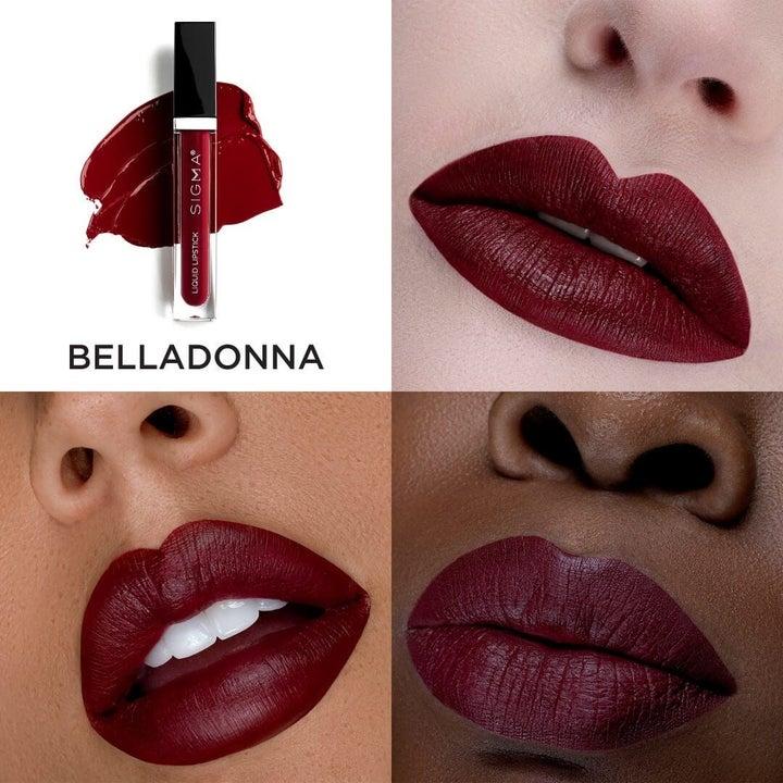 Belladonna, a dark vampy purple-red on three models with different skin tones