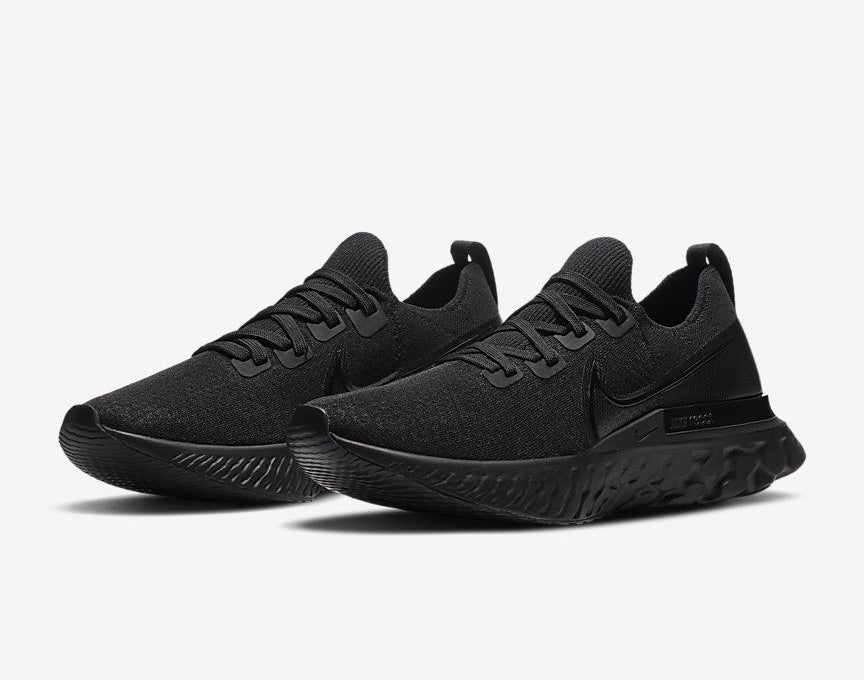 The running shoes in all black