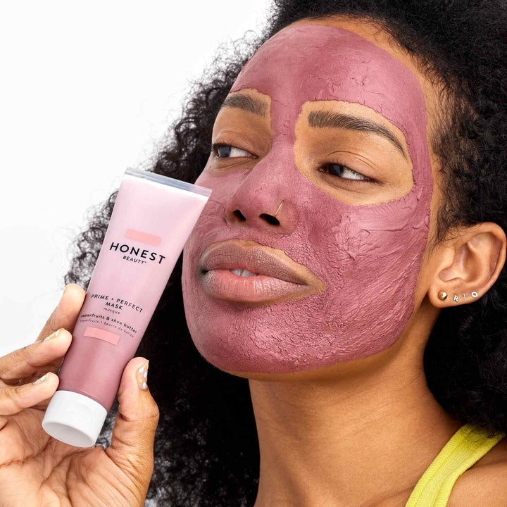Model wearing the pink mask