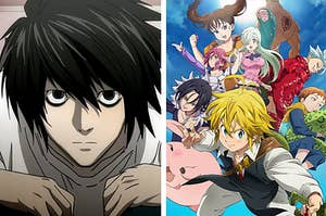 """Side by side of L from """"Death Note"""" and characters from """"Seven Deadly Sins"""""""