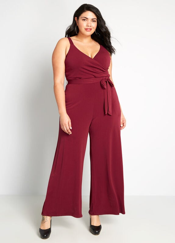 maroon high waisted maroon jumpsuit with skinny straps