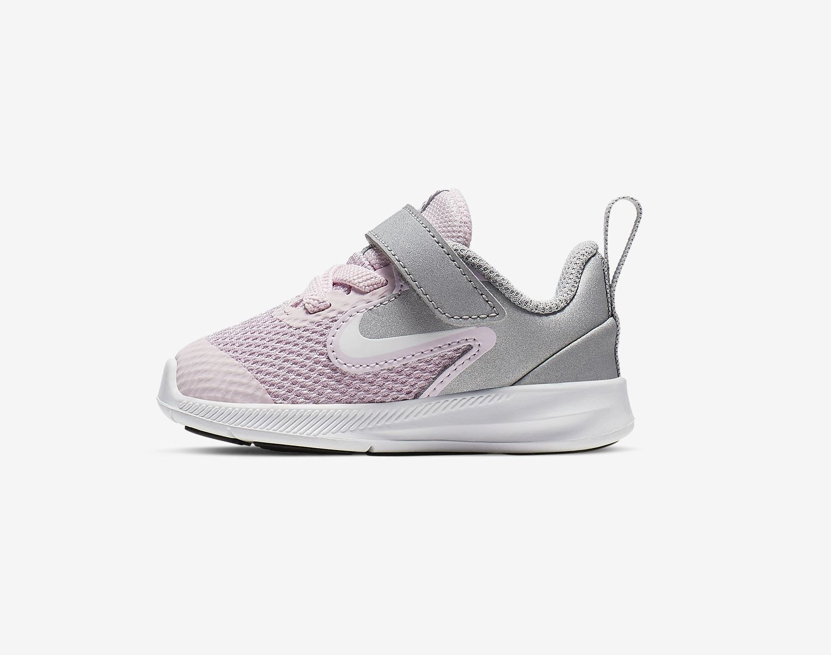 The small shoe with lilac and grey design