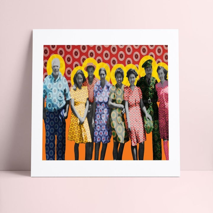 line of family members. The photo was originally black and white but their clothes are in bright prints and the background is also