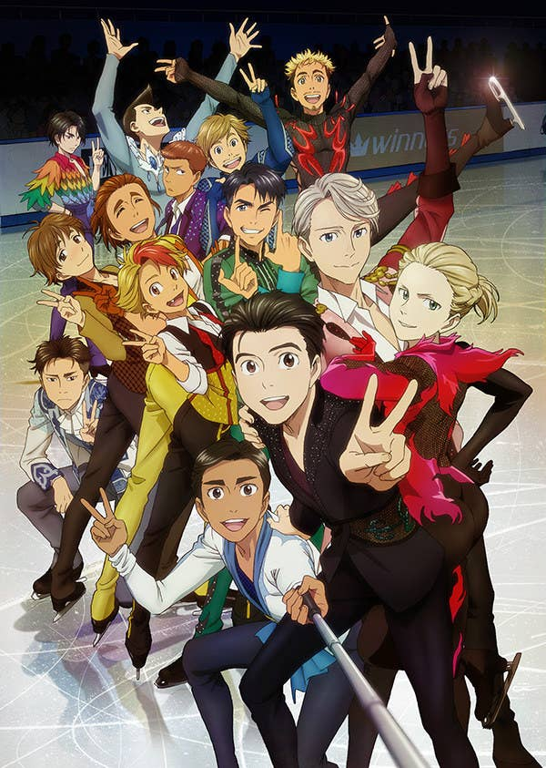 "A ""Yuri On Ice"" poster showing all the characters"
