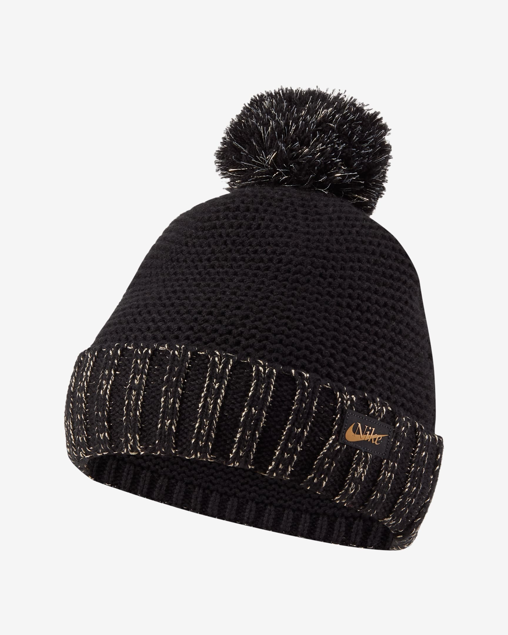 The knit hat in black with black and gold band and black poof on top
