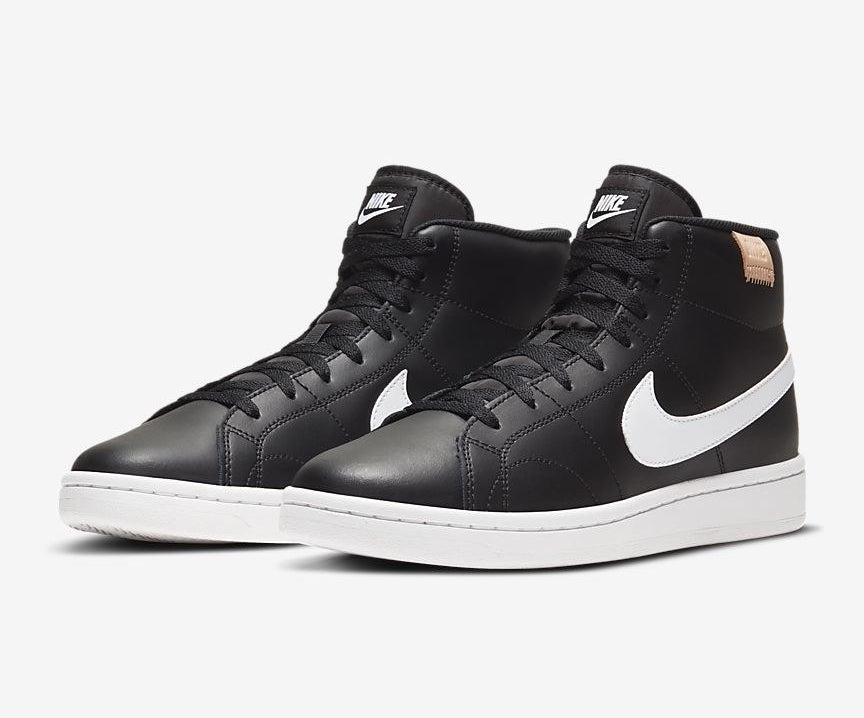 The court royale two mid shoes in black with white swoop and white sole