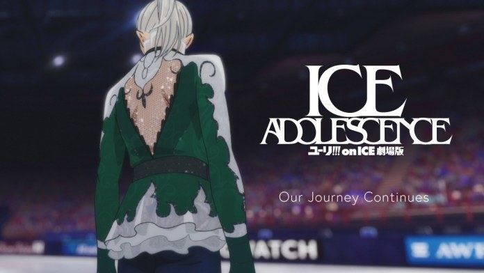 "The poster for ""Yuri!!! on Ice the Movie: Ice Adolescence"""