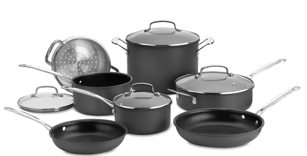the cookware set in black and silver detailing