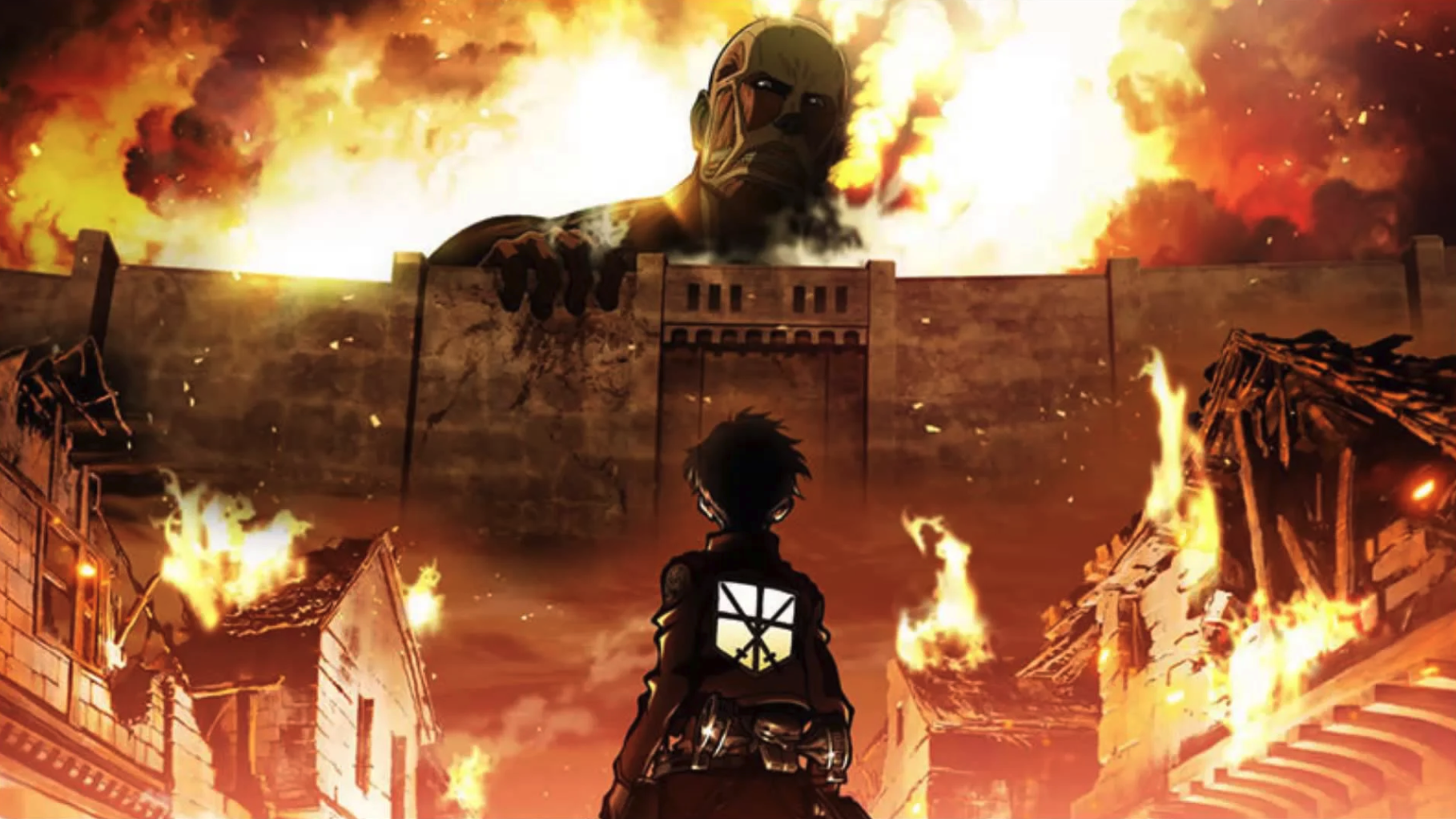 Eren from Attack on Titan looking at a titan above a wall surrounding his town