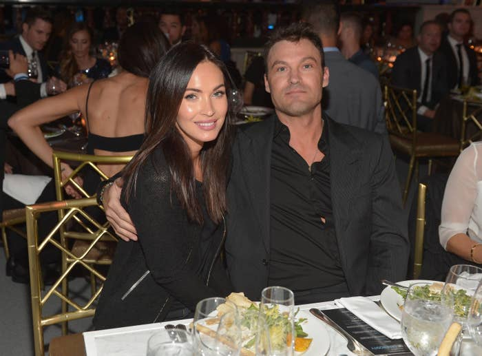 Actors Megan Fox and Brian Austin Green attend the 6th Annual Night of Generosity Gala presented by generosity.org at the Beverly Wilshire Four Seasons Hotel on December 5, 2014 in Beverly Hills, California