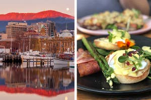 Side by side of a sunrise in Hobart and a Sydney brunch photo featuring Eggs Benedict