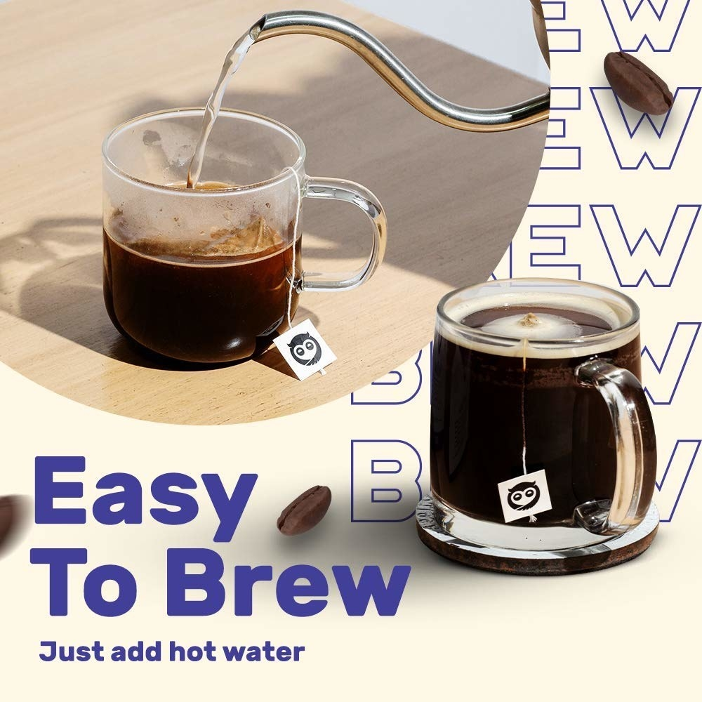 """A cup of coffee where hot water is being added, with text below reading: """"Easy to Brew, Just add hot water."""""""