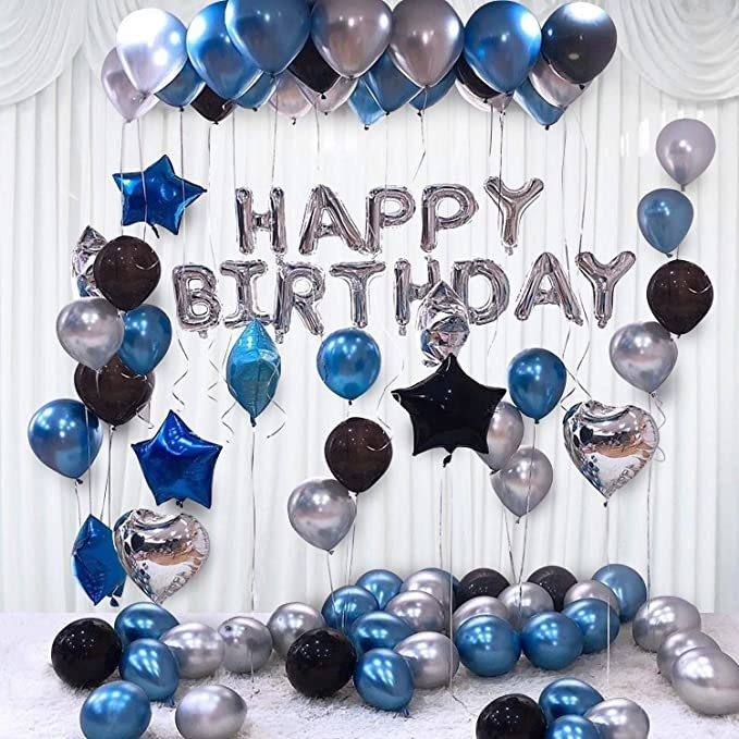 Silver alphabet balloons with metallic blue and black classic and star shaped balloons