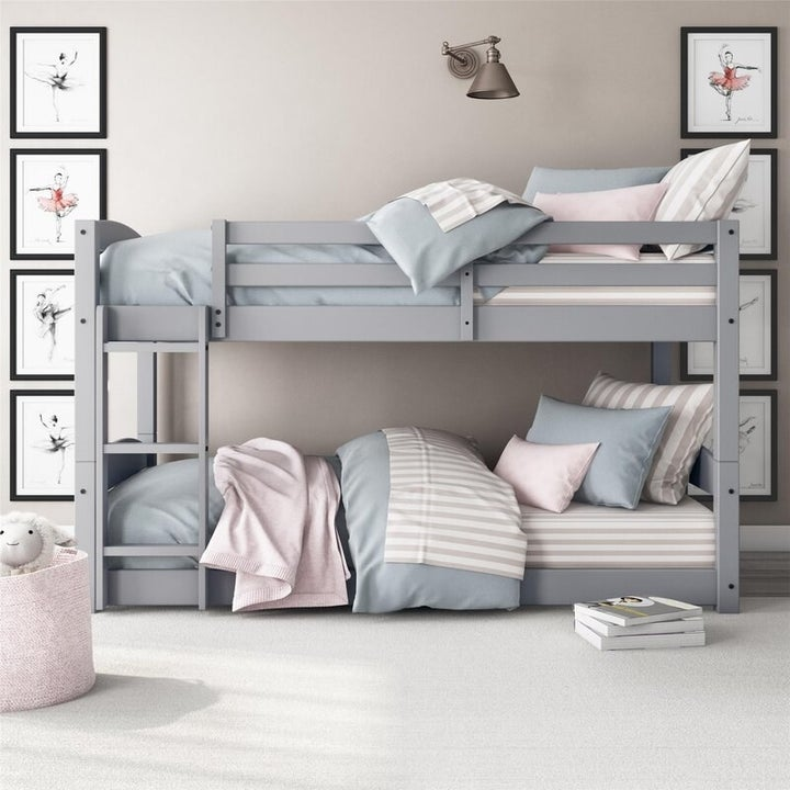 The twin bunk bed in gray
