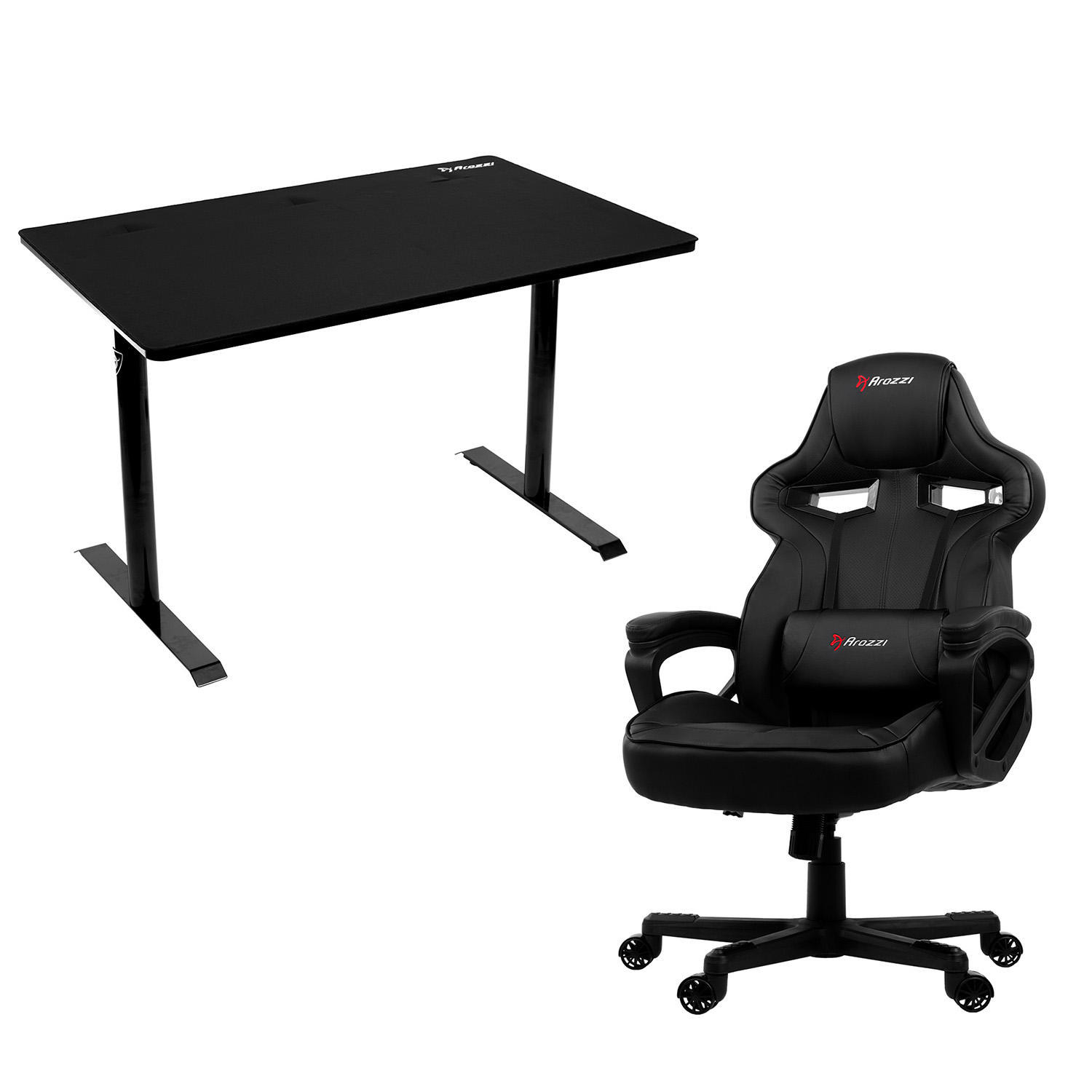 a black desk and supportive black chair on wheels